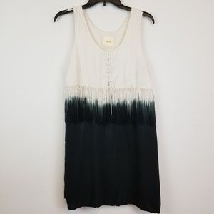 Maeve Anthropologie Navy/White Dyed Fringe Dress